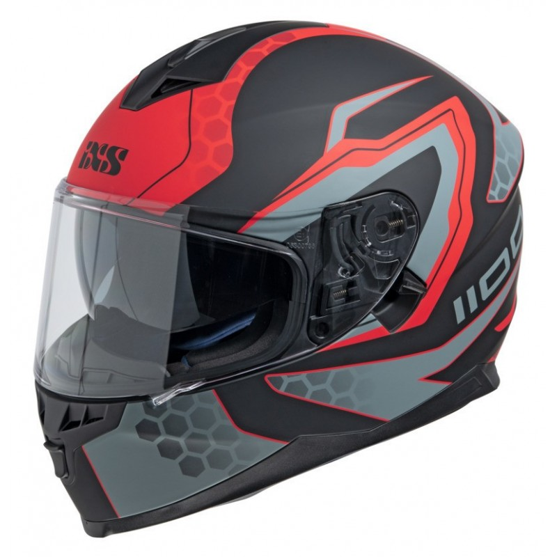 Casque Intégral iXS1100 2.2 noir mat-rouge